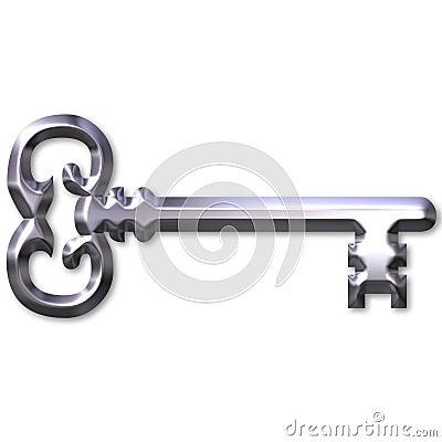 3D Silver Antique Key