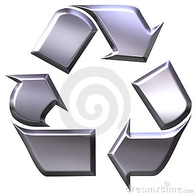 3d silver recycling symbol