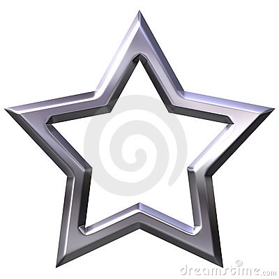 3D Silver Star Frame