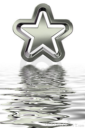 3d silver star with reflection in water