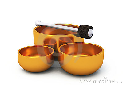 3D Singing bowls gold on white 05