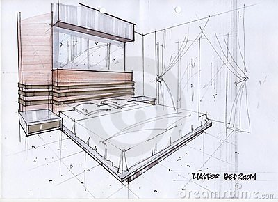 3d sketch illustration for a master bedroom royalty free for Bedroom designs sketch