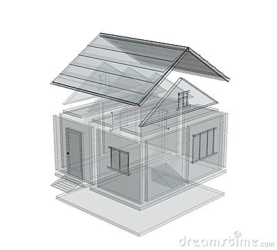 Free 3d Sketch Of A House Stock Image - 5391201