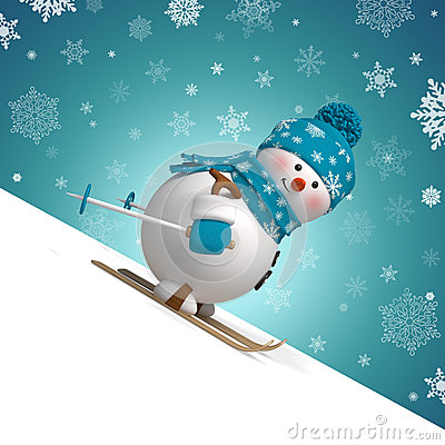 Free 3d Skiing Snowman Christmas Greeting Card Stock Images - 35236764
