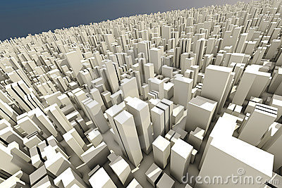 3d skyline of a crowd city - aerial view