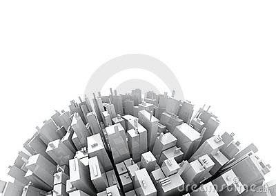 3d Skyscrappers - Isolated on White copy space
