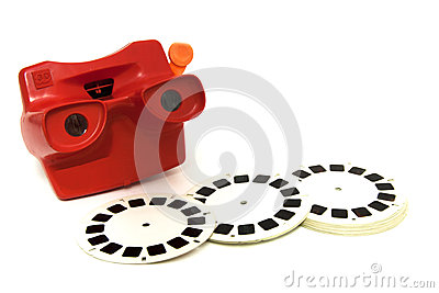 3D slide viewer,  toy camera with the 3D film reel