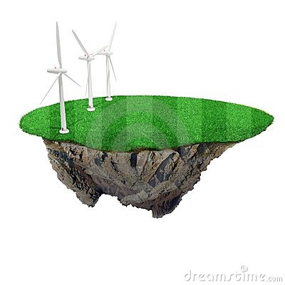 3d small island with green grass and windmills