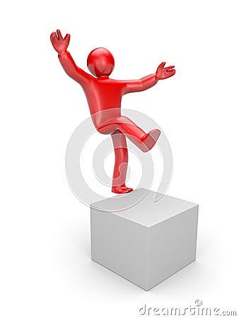 3d small man balancing on one leg