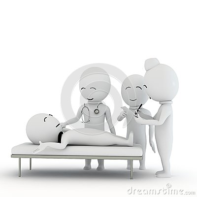 3d small people as hospital staff