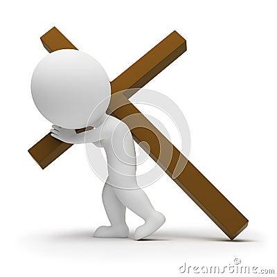3d small people - bearing cross