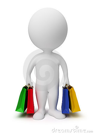 Free 3d Small People - Carry Shopping Bags Royalty Free Stock Images - 14429689