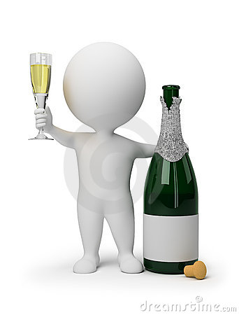 Free 3d Small People - Champagne Royalty Free Stock Image - 14556126