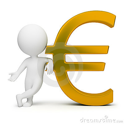 Free 3d Small People - Euro Sign Royalty Free Stock Photos - 13532868