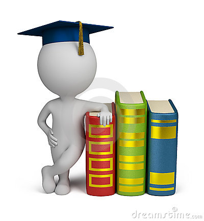 Free 3d Small People - Graduate And Books Stock Photo - 22862370