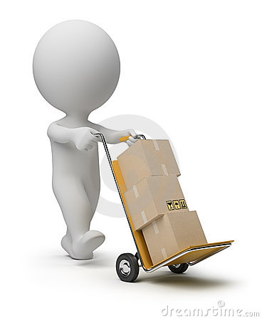 Free 3d Small People - Hand Truck Stock Photo - 19676460