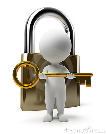 Free 3d Small People - Lock And Key Royalty Free Stock Images - 13159149