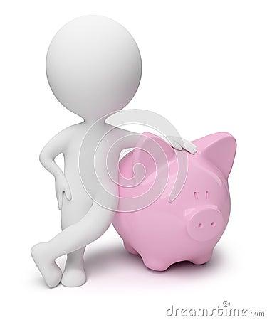 Free 3d Small People - Money Box Stock Photo - 13650600