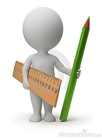 Free 3d Small People - Ruler And Pencil Royalty Free Stock Photography - 19385597