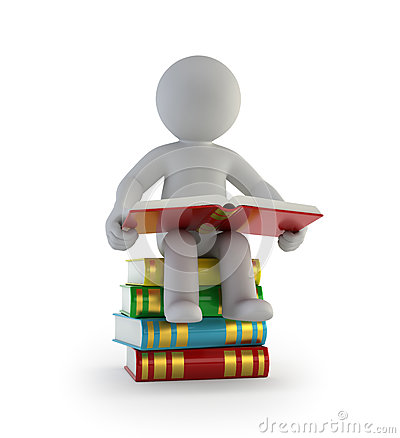 Free 3d Small People - Sitting On The Books Stock Photography - 79536792