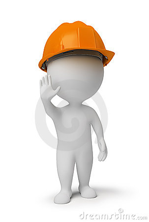 3d small people - worker at a stop pose