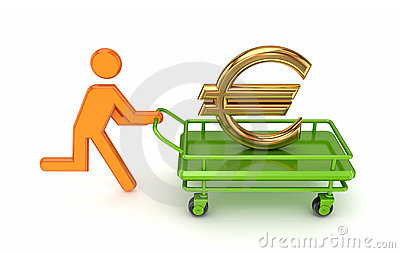 3d small person and gold euro sign on a pushcart.