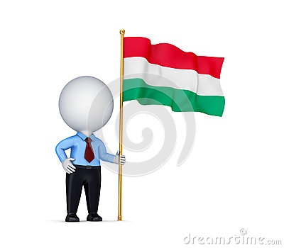 3d small person with a Hungarian flag in a hand.