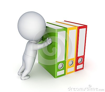 3d small person pushing colorful folders.