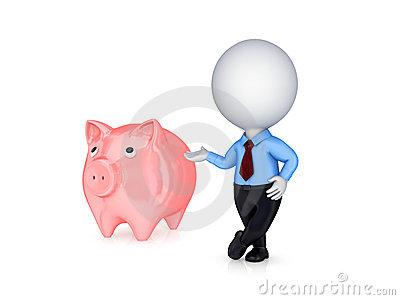 3d small person showing on a pink piggybank.