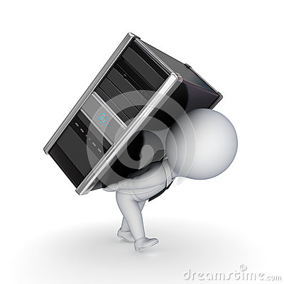 Free 3d Small Person With Computer. Royalty Free Stock Photography - 25122127