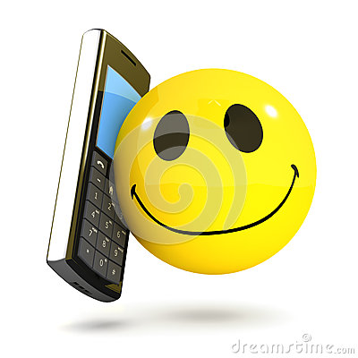 Free 3d Smiley Mobile Phone Royalty Free Stock Photography - 44790317