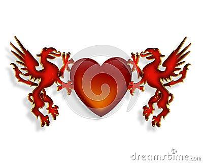 3d smoków grafiki serce
