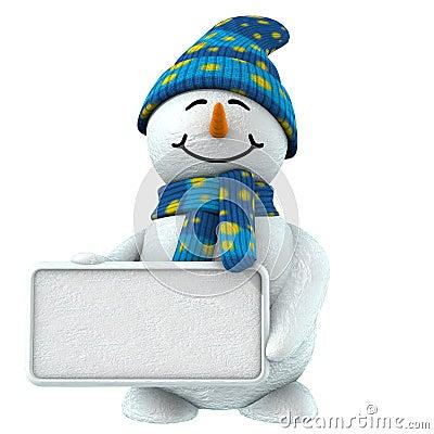 3d sneeuwman met teken