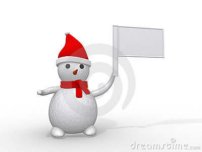 3d snowman with banner