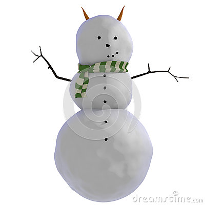 3D snowman with carrots as horns (or ears) and green and white striped scarf