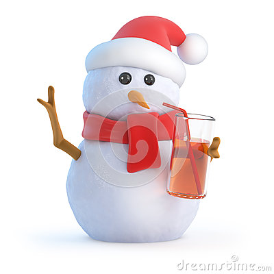 Free 3d Snowman Has A Drink At The Party Royalty Free Stock Images - 42666319