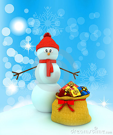 3d snowman over color background