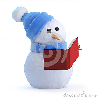 Free 3d Snowman Reading A Book Stock Photography - 43056892