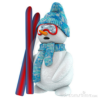 Free 3d Snowman Skier Stock Images - 1523704