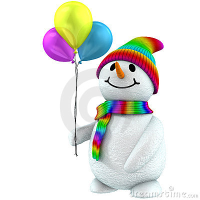 Free 3d Snowman With Balloons Royalty Free Stock Photo - 1643555