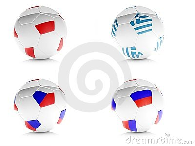 3d soccer balls with flags isolated white