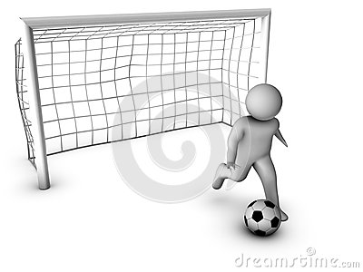 3d soccer player with gate