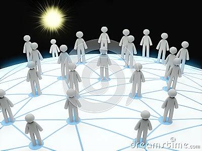 3D social network connection concept