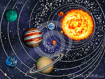 3D Solar System: 9 Planets In Their Orbits. Stock Images - Image ...