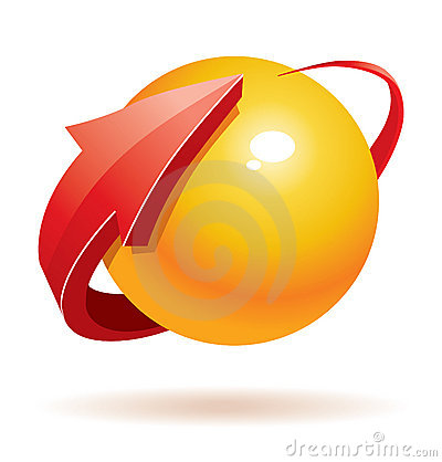 3d sphere and arrow