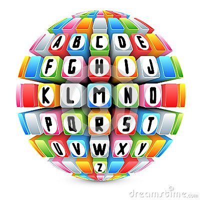 3d sphere with english alphabet