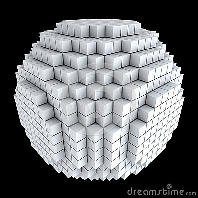 Free 3D Sphere Made Of Cubes Stock Image - 25520701