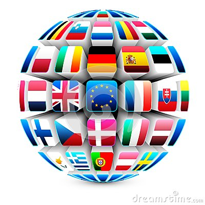 Free 3d Sphere With 27 European Union Flags Stock Photos - 25303143