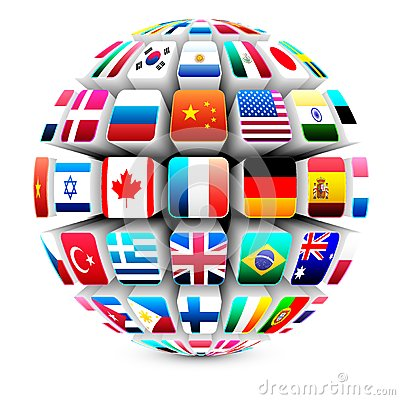 Free 3d Sphere With World Flags Royalty Free Stock Photography - 25303137