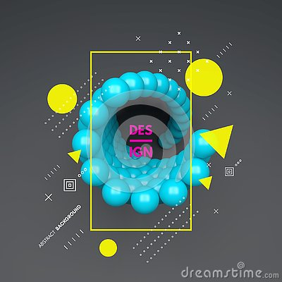 Free 3d Spheres Composition. Art Element In Futuristic Technology Style. Vector Illustration For Web Design Royalty Free Stock Photography - 132747117